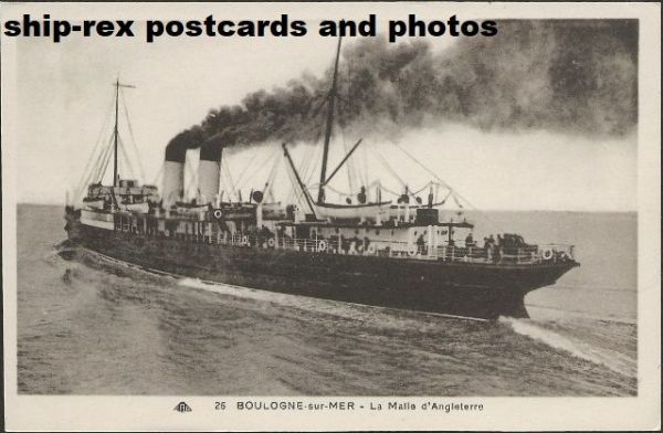 Cross-channel steamer on Boulogne-Sur-Mer postcard